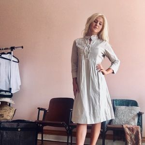"""Downeast Basics"" Khaki Ruffle Long Sleeve Dress"